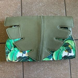 Palm Leaf Faux Leather Clutch